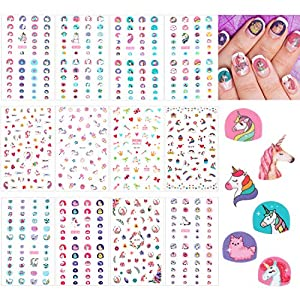 12 Sheets Unicorn 3D Nail Art Stickers Self-adhesive Nail Art Decals Nail Tip Sticker Tattoo Decorations for Birthday Party Gift Favors