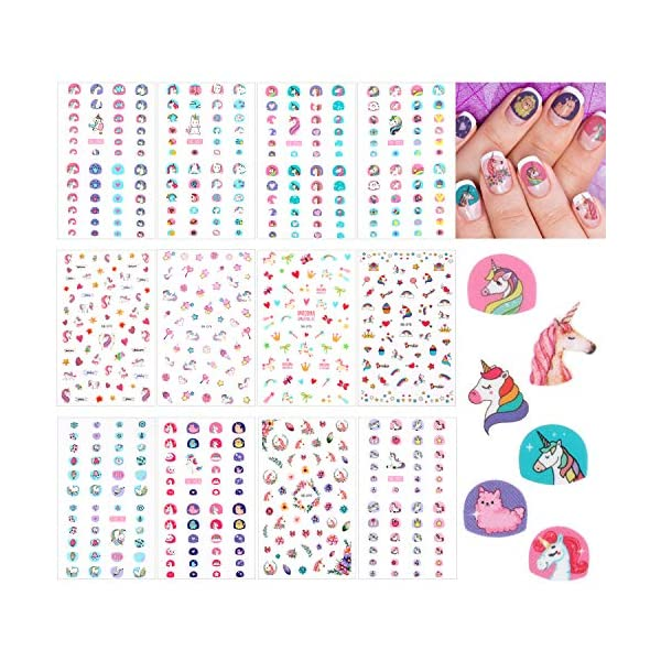 12 Sheets Unicorn 3D Nail Art Stickers Self-adhesive Nail Art Decals Nail Tip Sticker Tattoo Decorations for Birthday Party Gift Favors 3