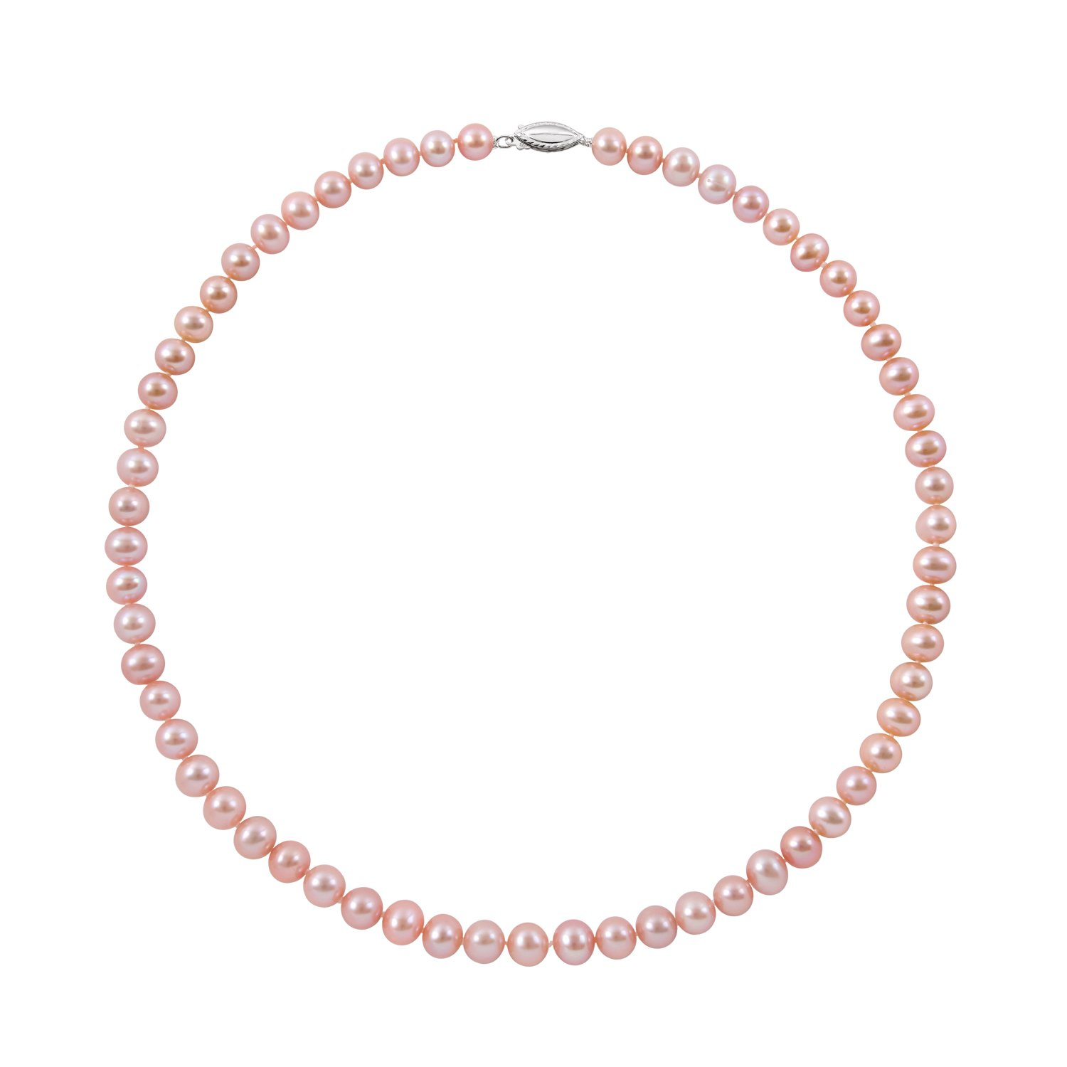 Sterling Silver 5.5-6.0mm Natural Pink Cultured Freshwater Pearl Strand Necklace,16''