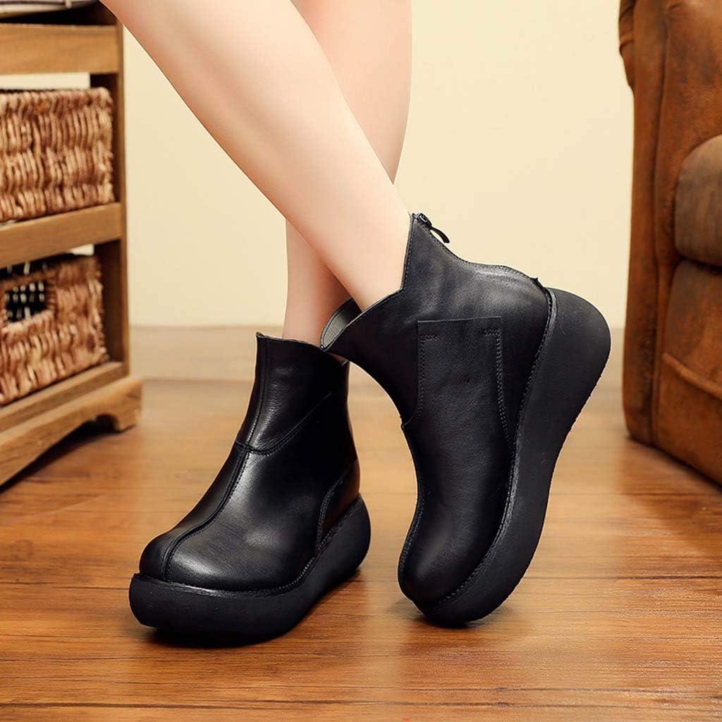 GHX Chaussures pour Femmes Automne et Hiver Nouvelle Augmentation décontractée Plus Coton Chaussures en Cuir à la Main pour Femmes Chaussures de Sport B