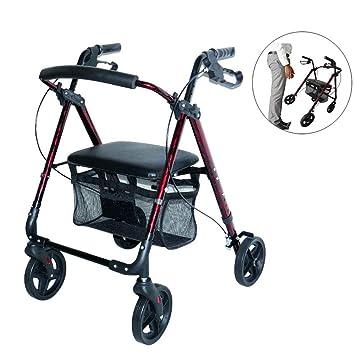 ZYJFP Andador Plegable para Ancianos, Marco de Aluminio de 4 ...