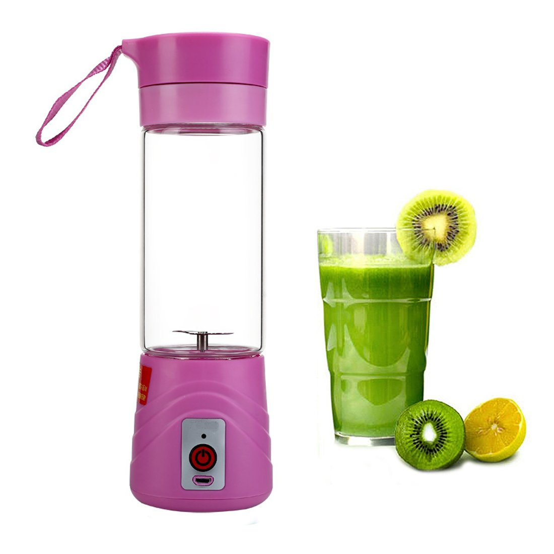 Fivebop USB Fruit Juicer Cup Mixing Machine, Portable Personal Size Eletric Rechargeable Mixer, Blender, Water Bottle 380ml with USB Charger Cable (Blue)