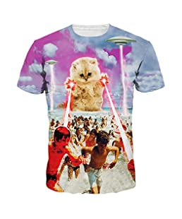 Lenfesh Camiseta Divertida Verano Camisa Unisex 3D para niño para Hombres Camiseta Estampada con Estampado de Animales Camiseta Manga Corta Tops Hombres Talla Extra (L, Rosado #2)