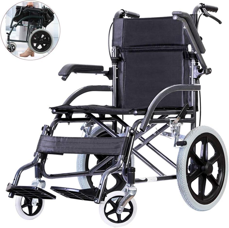 Sillas de ruedas asistidas y de transporte Silla de ruedas ligera y plegable, carro pequeño portátil, Ccooter de viaje para ancianos, pasamanos móviles, pedal y freno de mano, para adultos, discapac