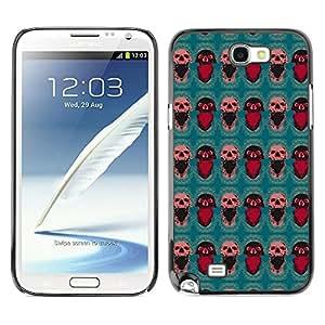 iKiki-Tech Estuche rígido para Samsung Galaxy Note 2 N7100 - Red Skull