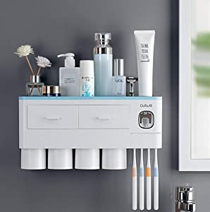 LIRANK Toothbrush Holder Multifunctional Wall Mount Electric Toothbrushes Space Saving Toothpaste Squeezer kit with dust Cover,White-Blue (Blue, 4 Cups)