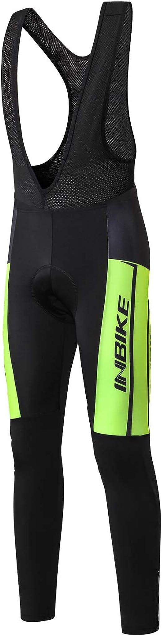 Herren Fahrrad Trägerhose Skinsuit Fleece Gepolsterte MTB Long Pants Reflective