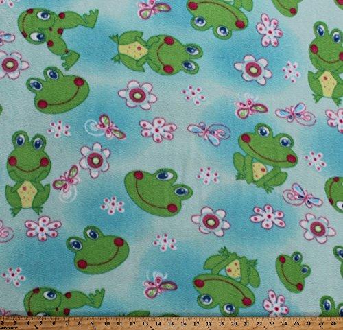 Fleece Frogs Flowers Butterfly Butterflies Dragonflies Kids Girls Blue Fleece Fabric Print by The Yard (5057M-12A-frogs) ()