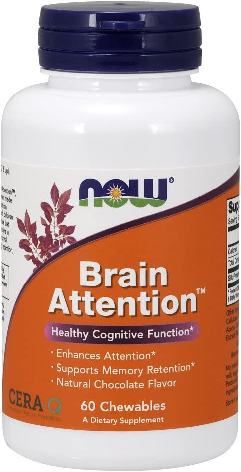 NOW Supplements, Brain Attention™ with Cera-Q™, Healthy Cognitive Function*, 60 Chewables