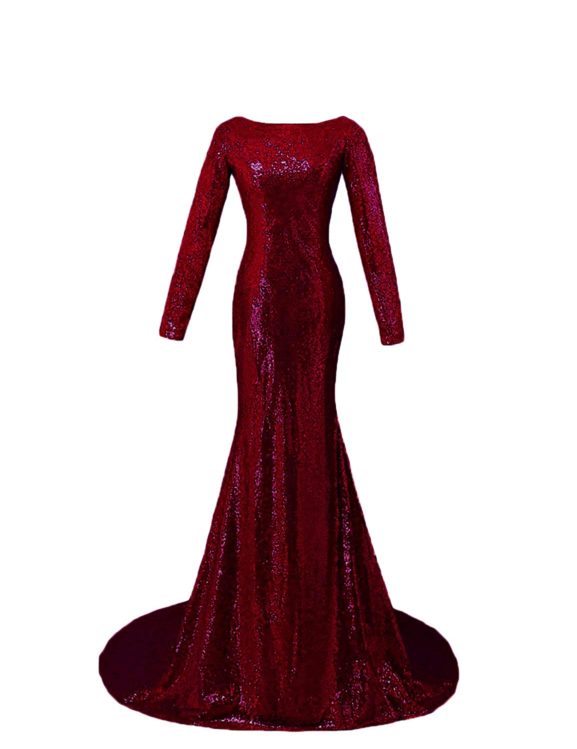 Dark Burgundy CIRCLEWLD Backless Sequins Long Sleeves Formal Evening Dresses Train Elegant Prom Gala Gown E185