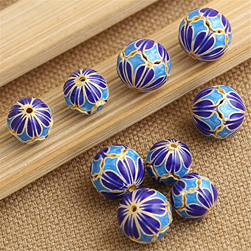 Luoyi 1pc Golden Plated Sterling Silver Enamel Beads, Flower Cloisonne Round Spacer Bead, Hole: 1mm (T025L) - Cloisonne Flower Beads