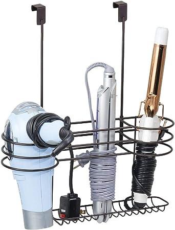 color bronce mDesign Soporte para secador de pelo sin taladro Magn/ífico organizador de ba/ño para secadores Gran colgador de puerta para guardar el secador de cabello planchas o rizadores