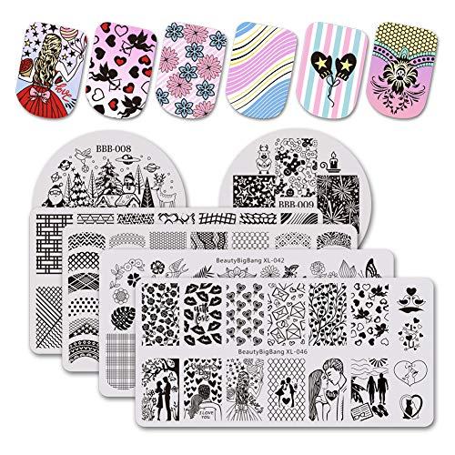 BEAUTYBIGBANG 6Pcs Nail Stamping Plates Set Girls Day Easter Spring Sweetheart Flower Image Templates Nail Art Stamping Kits DIY Salon Design