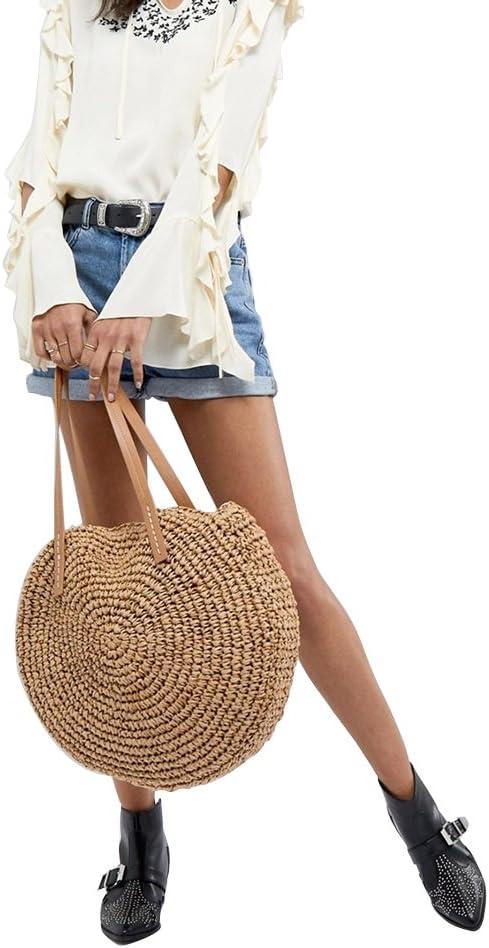 Yunhigh borsa tonda intrecciata con manico in pelle borsa da donna intrecciata in rattan naturale borsa a tracolla vintage da spiaggia Cammello