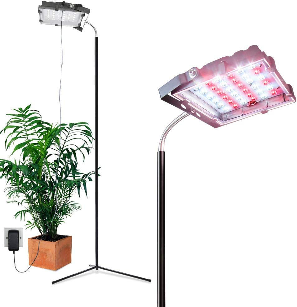 Dommia Floor Lamp LED Grow Lights, 35W Floor Stand Plant Light with Flexible Gooseneck, Full Spectrum Sunlight Plant Growing Lamp for Indoor Plants, Gardening, Hydroponics