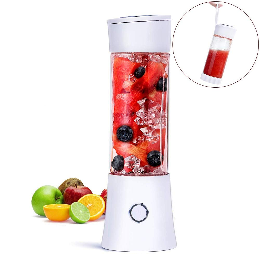 Portable Mini Blender, Juicer Blender Smoothie Maker with 3D 6 Blades ,USB Rechargeable Juice Mixer 100W 480ML,with 4000mAh Rechargeable Battery, Mini Personal Fruit Blender for Home,Office,Sports,Travel, Outdoors