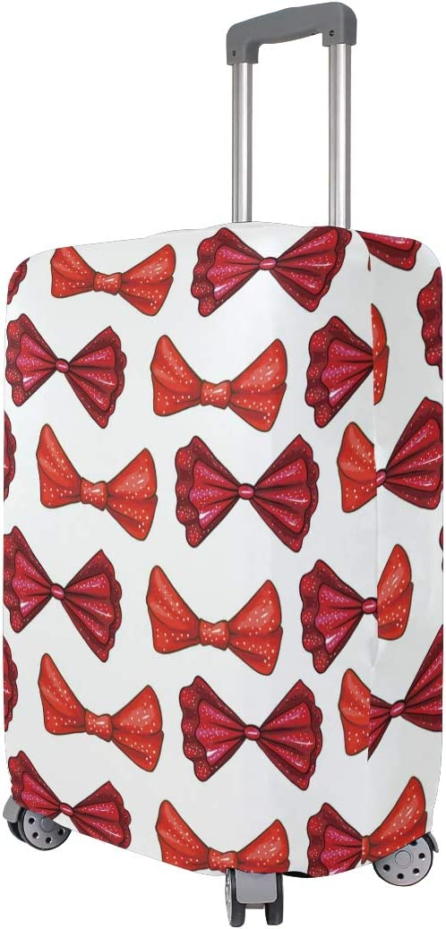 Baggage Covers Red Color Bows Tie Pattern Washable Protective Case
