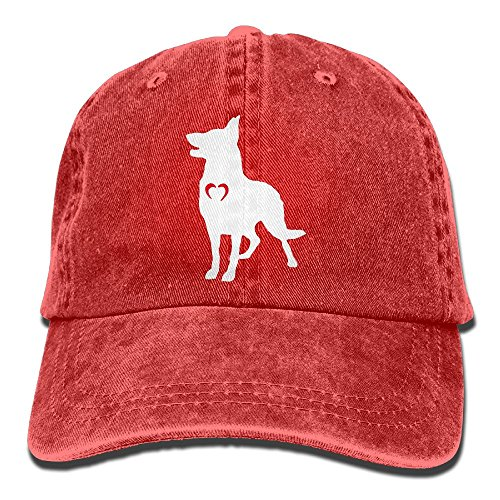 - JW20YZ12 German Shepherd with Heart-1 Vintage Denim Baseball Cap Adjustable Dad Hat Unisex