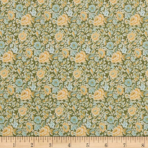 In The Beginning Fabrics Garden Delights Dotted Flowers Fabric, Gold, Fabric By The Yard