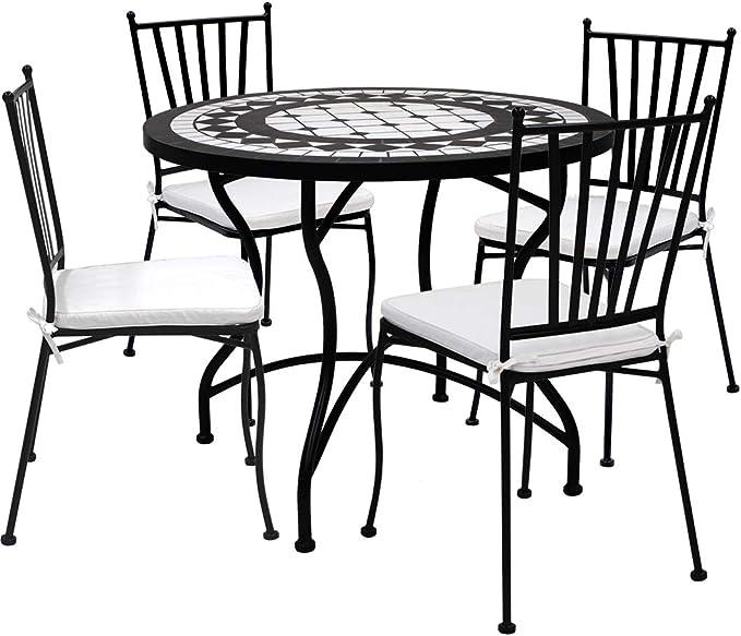 Desconocido Set de 4 Sillas de forja Apilables y Mesa Circular Ceramica 90 cm Diámetro: Amazon.es: Jardín