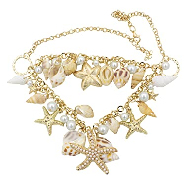 Jiuhong Fashion Gold Chunky Tone Sea Shell Starfish Faux Pearl Bib Statement Necklace bx4oO4