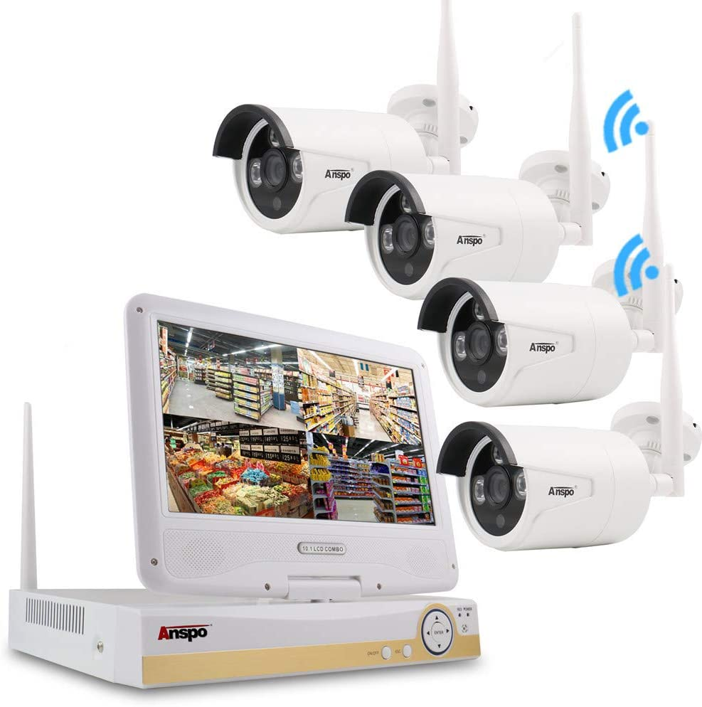 "Anspo 4CH Wireless WiFi Security System and 4PCS Outdoor Wireless Camera NVR 1080P HD Home Security CCTV System with 10.1"" LCD Monitor, White"