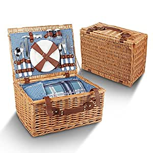 Picnic Basket For 4 - 29 Piece Kit Includes Wicker Basket with Stainless Steel Flatware, Ceramic Plates, Glasses, Linen Napkins and Blanket and More - by Vysta
