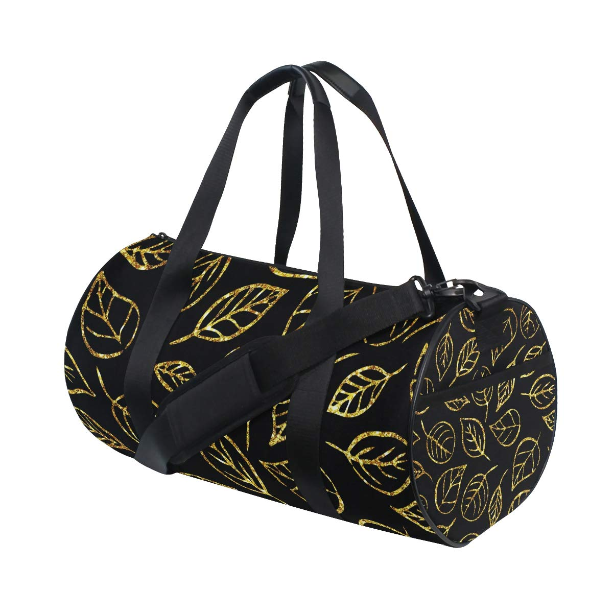 Sports Gym Duffel Barrel Bag Golden Leaves Pattern Travel Luggage Handbag for Men Women