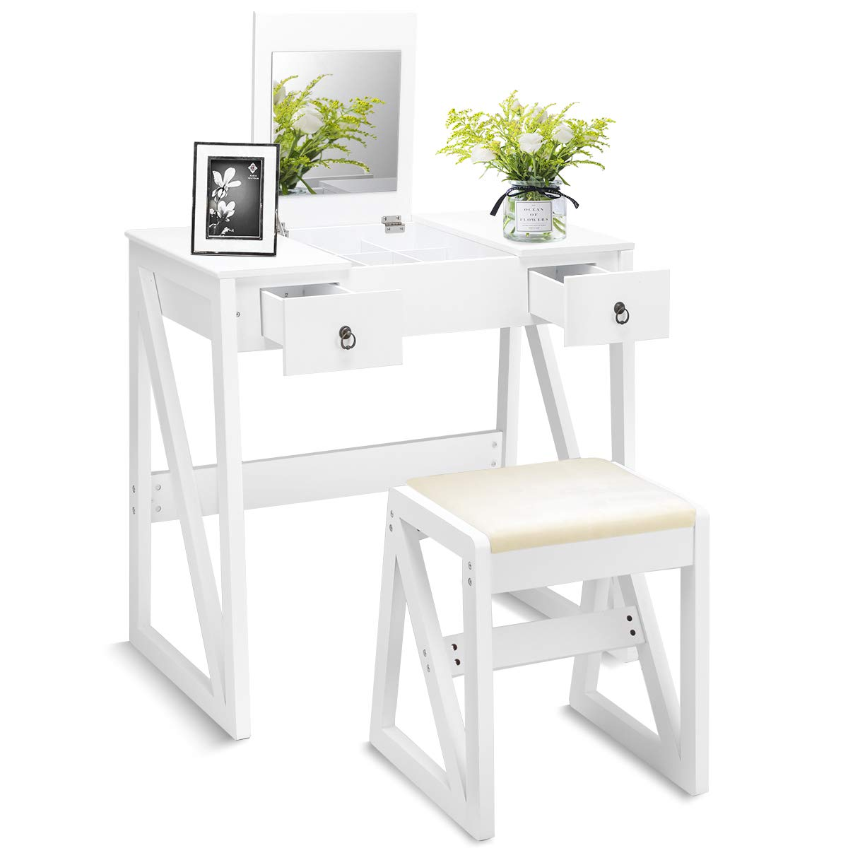 Giantex Vanity Dressing Table Set with Stool and Mirror, Flip Top Mirrored for Makeup 9 Mid Organizers Dual Modern Writing Desks for Home Office Bedroom, Contemporary Vanity Tables Desk w/ 2 Drawers