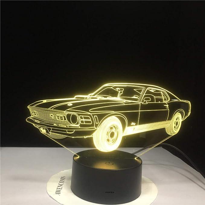 3D Vision 7 Colorful Mood LED Lámpara de mesa USB Race Race Night ...