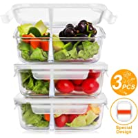 3-Pack Bayka 36 Oz Glass Meal Prep Containers