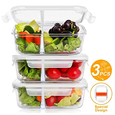 BAYKA Glass Meal Prep Containers 36 Oz 3-Pack 2 Sealed Compartment Glass Food Storage Containers with Lids, Portion Control Airtight Glass Lunch Containers, BPA Free