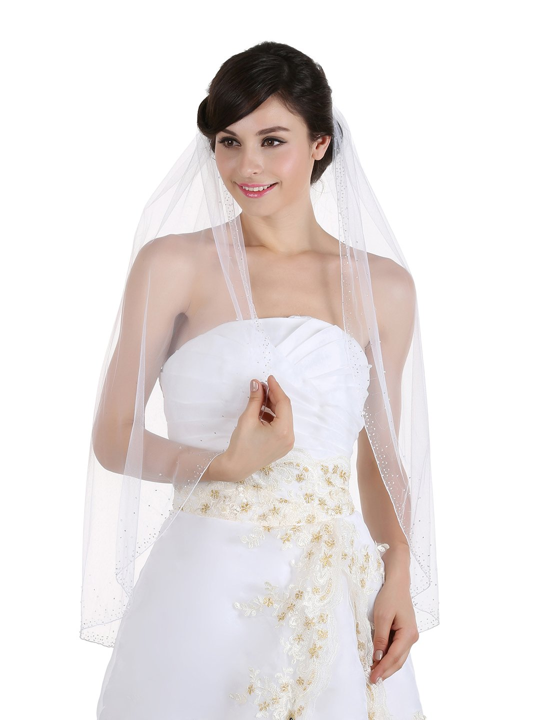 1T 1 Tier Wide Crystal Beaded Edge Bridal Veil - Ivory Elbow Length 30'' V358