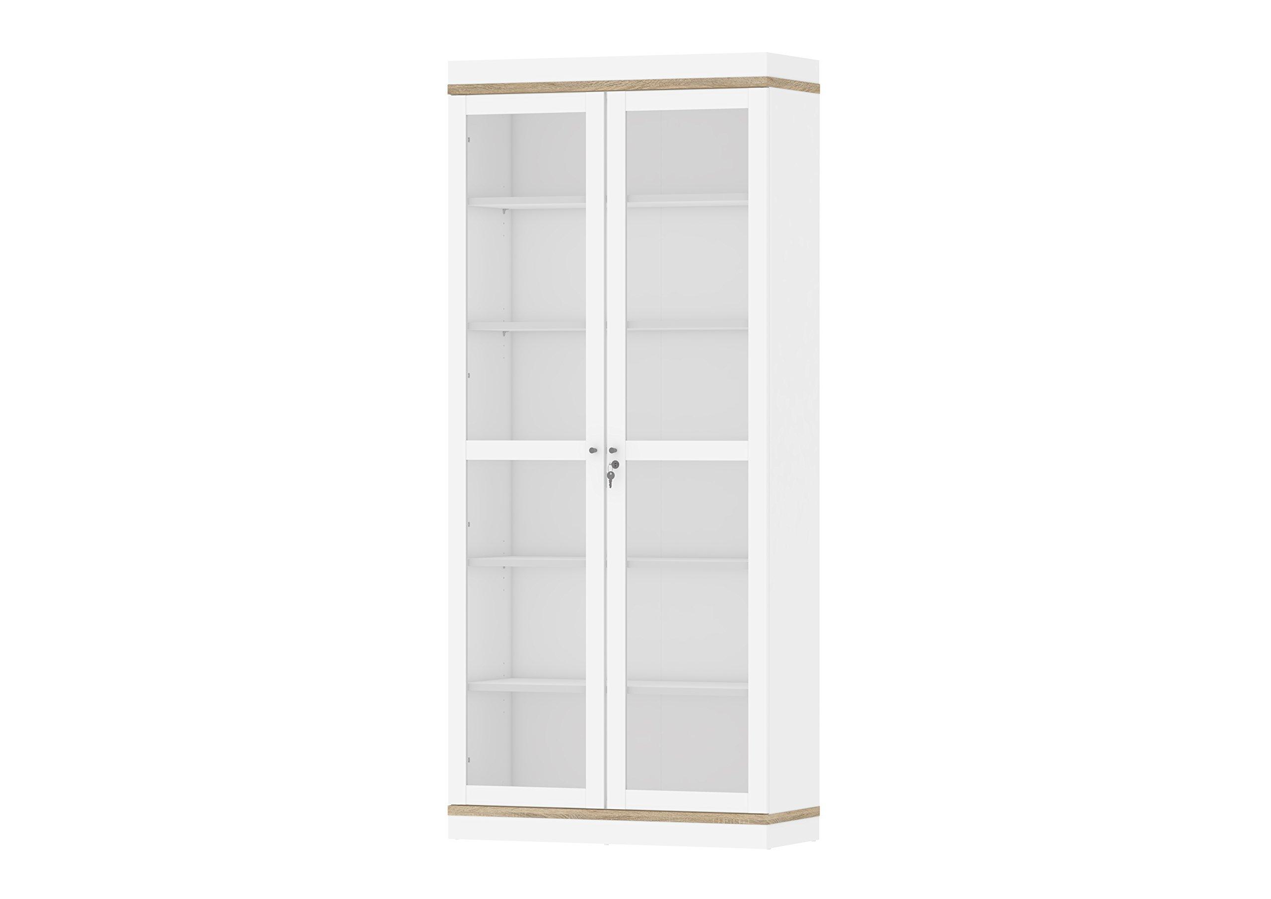 Tvilum Aberdeen 2 Door China Cabinet, White/Oak Structure by Tvilum