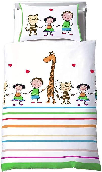 Kinderbettwäsche Bettwäsche Baumwolle 100x135 Renforcé gestreift Giraffe Tiere