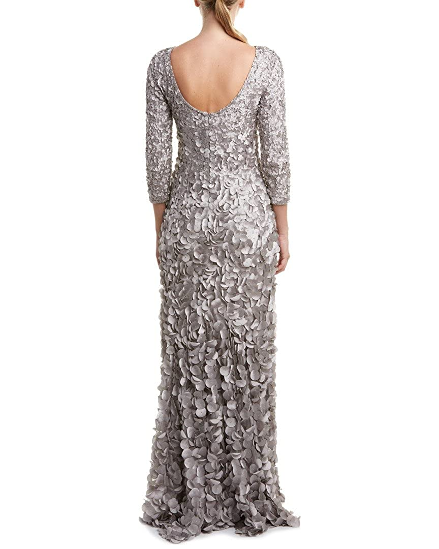 Theia Petal Embellished 3/4 Sleeve Scoop Back Evening Gown Dress at ...