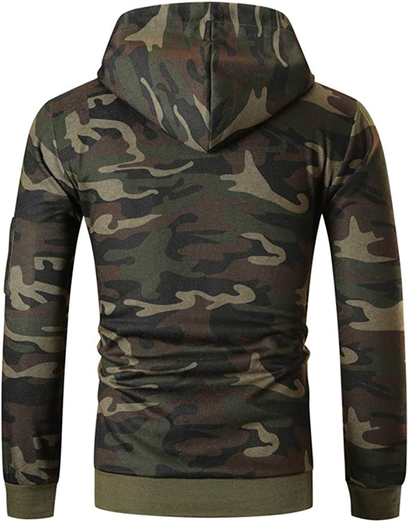 Camouflage Sweatershirt Blouse for Men Fitness Workout Sport Hoodies Pullover Slim Fit Hooded Outwear WEI MOLO
