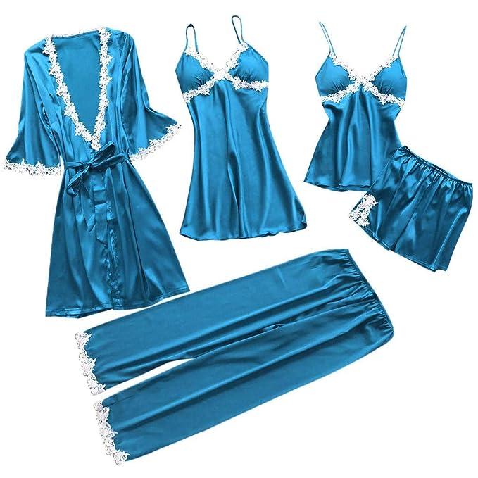 Proumy Conjunto Pijamas Mujer Verano Batas Sexy de Seda 5 Piezas Sets Camisola de Tiras Pantalones