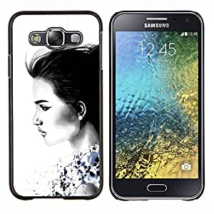 Eason Shop / Premium SLIM PC / Aliminium Casa Carcasa Funda Case Bandera Cover - Señora de carbón negro minimalista - For Samsung Galaxy E5 E500