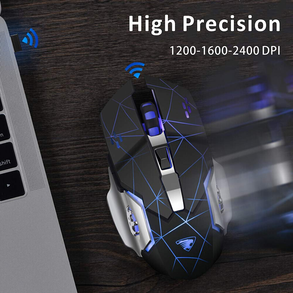 2,4G USB LED Mouse Senza Fili Ottico Impugnatura Ergonomica 3 DPI Regolabili 6 Pulsanti per PC//Notebook TENMOS T85 Mouse Gaming Wireless Ricaricabile Sleep Automatico Argento