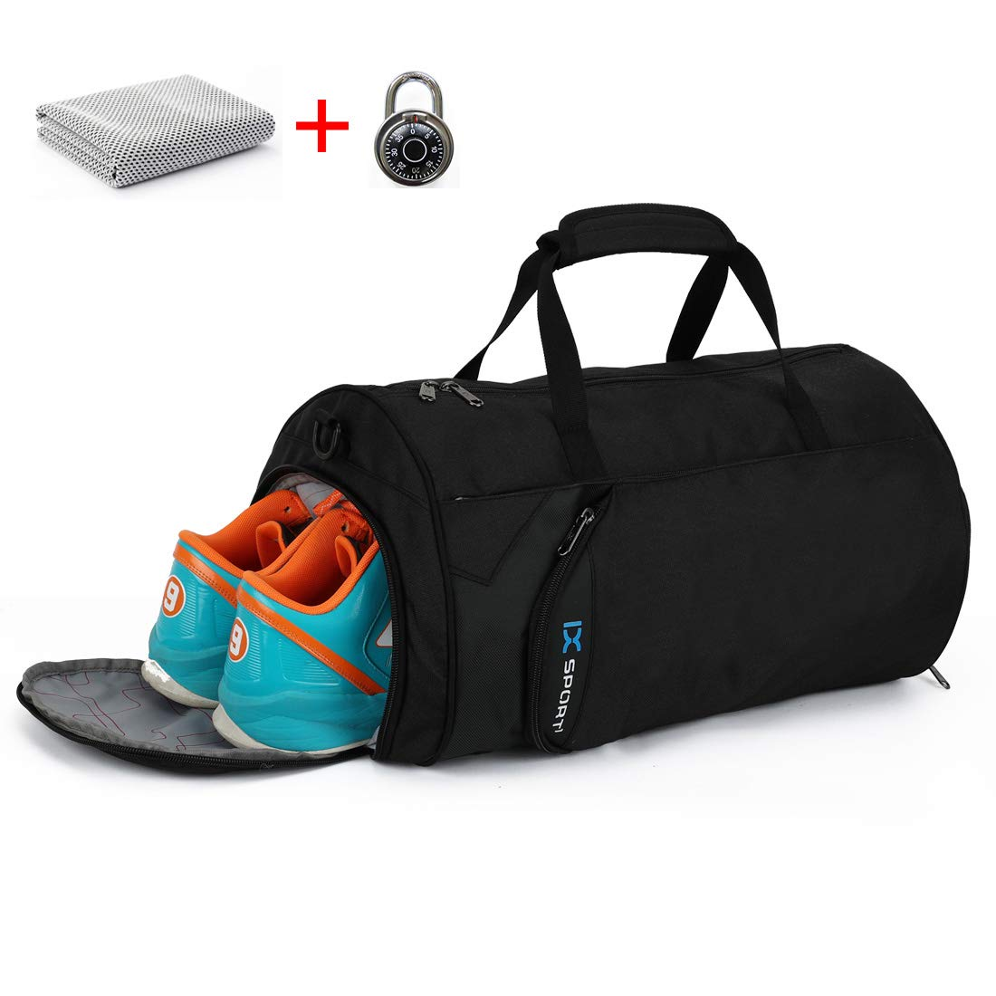 INOXTO Fitness Sport Small Gym Bag with Shoes Compartment Waterproof Travel Duffel Bag for Women and Men (black-Set 3in1)