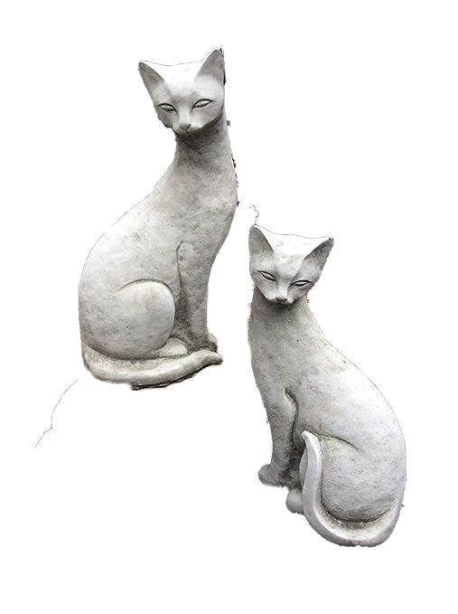 Piedra gatos siameses gato adorno de jardín