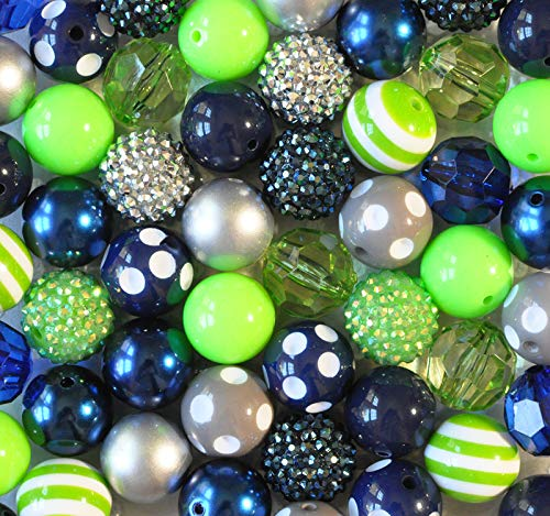Seahawk Blue and Lime Green 20mm Bubblegum Bead 50 Piece Bulk Set from Boutique Craft - Green Beads Beaded Charms