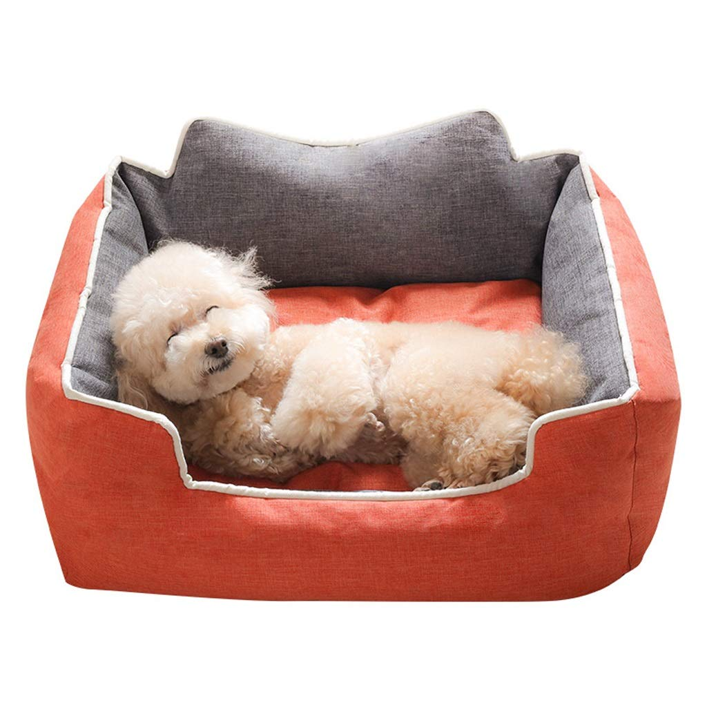 orange LARGEFJH Kennel Removable And Washable Mediumsized Large Dog Bed Pet Supplies Winter Warm (color   Purple, Size   SMALL)