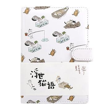 Cuaderno de colores degradados con bonitos dibujos animados de gato ...
