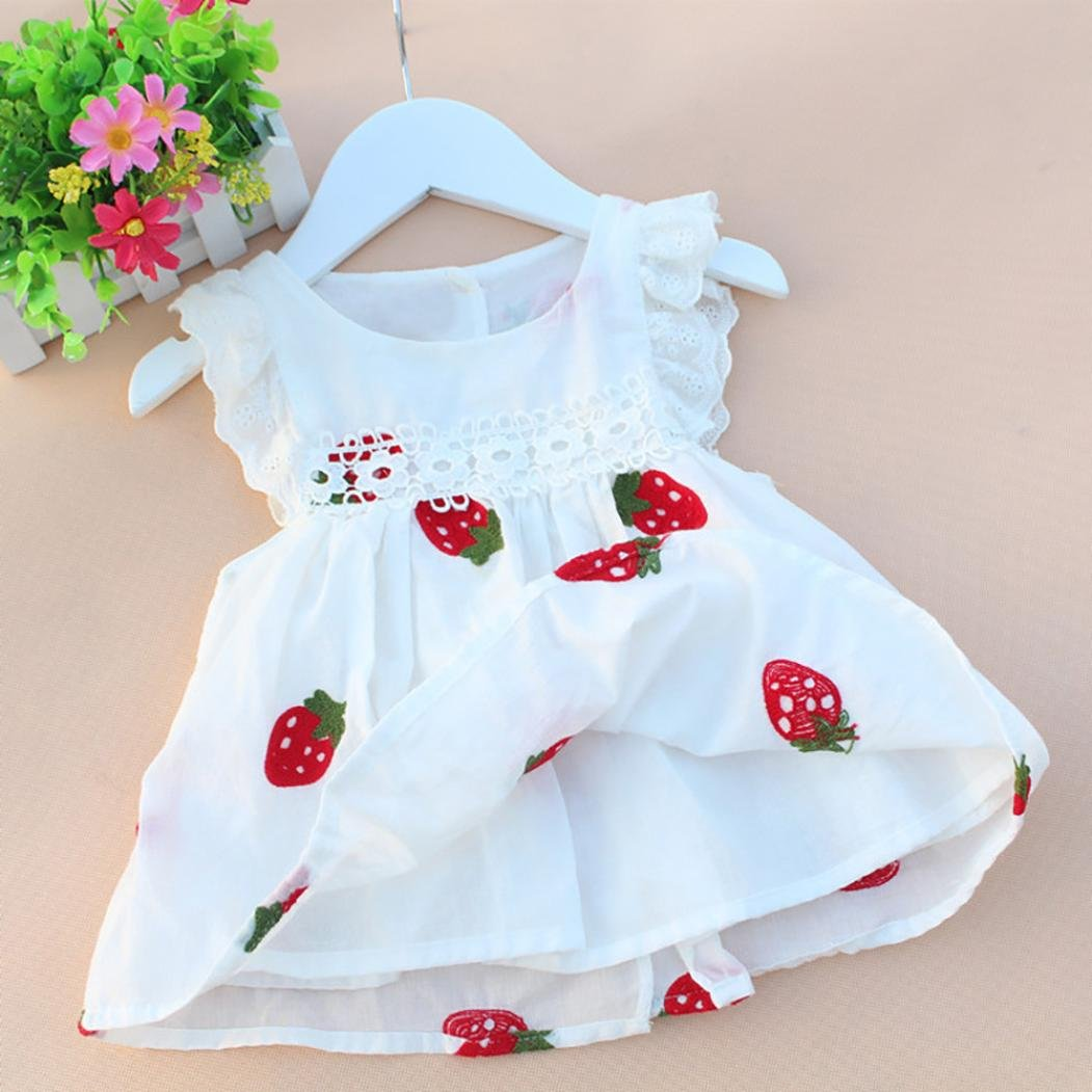 Wanshop Floral Princess Dress Toddler Infant Baby Girls Cute Sleeveless Strawberry Embroidery Dress Summer Outfits Clothes