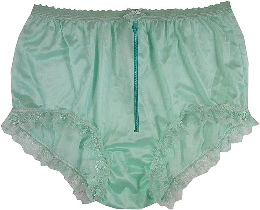 baea74011d7423 NYH19D03 Green Zipper Handmade Vintage Style Brief Panties Nylon for Women  Panty Underwear high Waist Undies