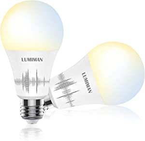 Smart Light Bulb Compatible with Alexa Google Home & Siri, LUMIMAN WiFi Tunable 800 Lumen Warm White to Daylight White A19 E26 LED Lights Bulbs, 7.5W (75W Equivalent), No Hub Required 2 Pack