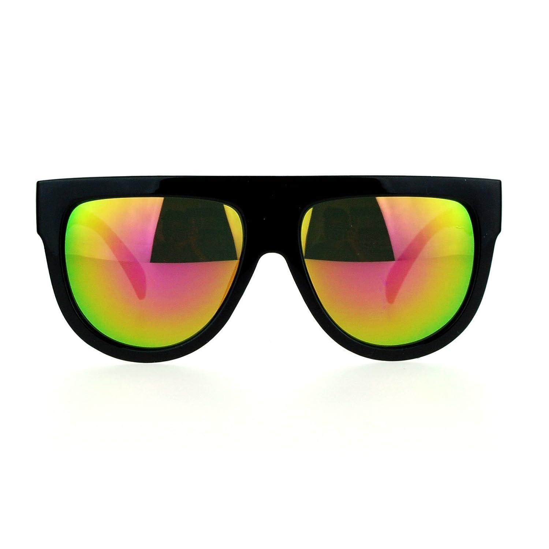 867b951d633 Amazon.com  SA106 Mirrored Lens Boyfriend Fit Flat Top Diva Mafia Mob  Sunglasses Blue Mirrored  Clothing