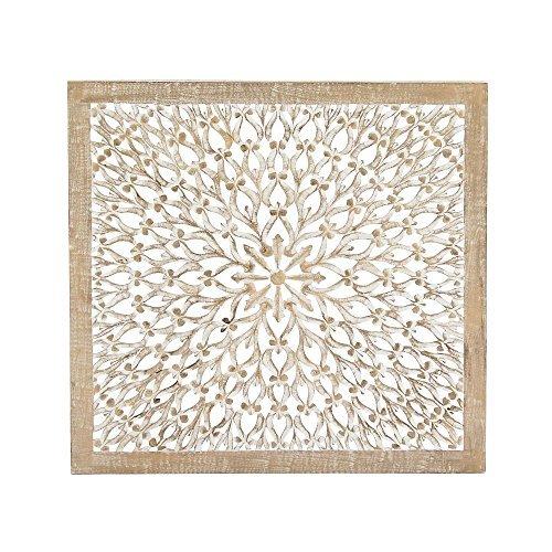 "Deco 79 23774 Wood Wall Panel, 36"" x 36"", White"